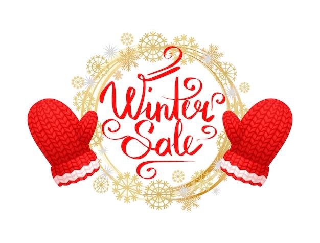 Conjunto de banner de venta de invierno, corona de copos de nieve, guantes