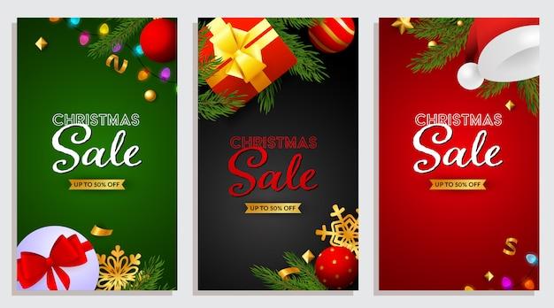Conjunto de banner de venta de navidad con regalos