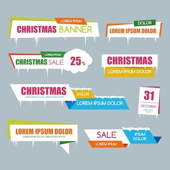 Conjunto de banner de venta de navidad para venta y descuento