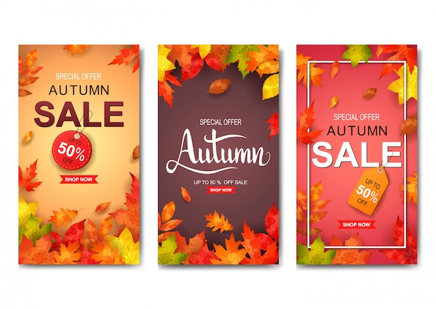 Conjunto de banner de venta otoño