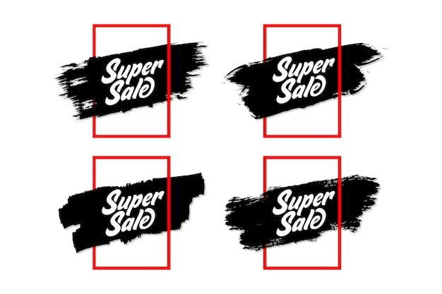 Conjunto de banner de venta simple con marco minimalis y grunge