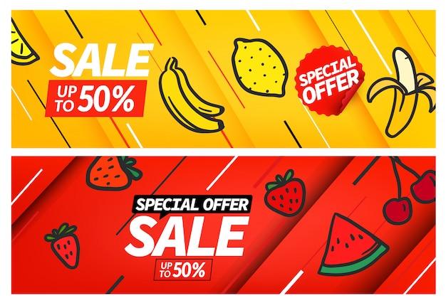 Conjunto de banner de venta de temporada, plantilla de cupones de oferta especial