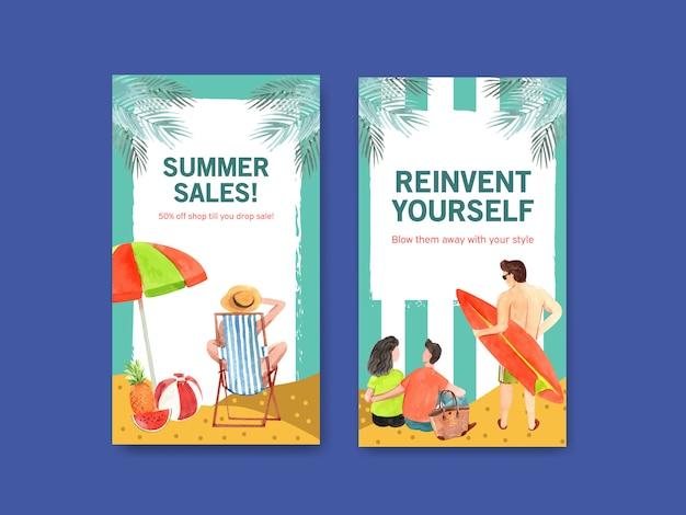 Conjunto de banner de venta de verano dibujado a mano