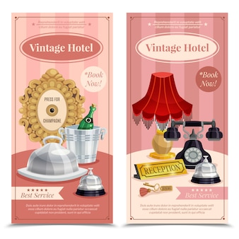 Conjunto de banner vertical vintage hotel