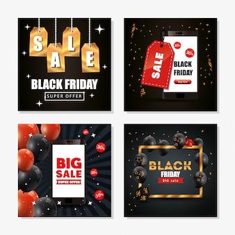 Conjunto de banner de viernes negro con decoración
