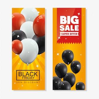 Conjunto de banner de viernes negro y decoración