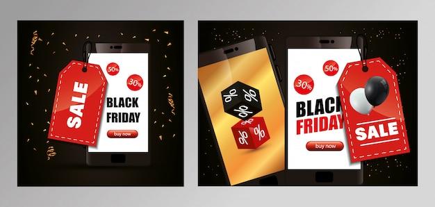 Conjunto de banner de viernes negro con teléfono inteligente y decoración