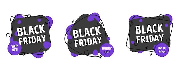 Conjunto de banner de viernes negro