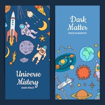 Conjunto de banner web de elementos espaciales dibujados a mano