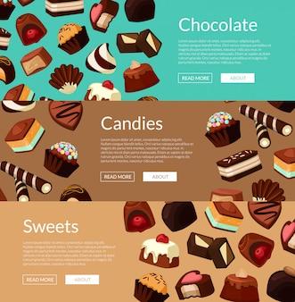 Conjunto de banner web horizontal y cartel con caramelos de chocolate de dibujos animados
