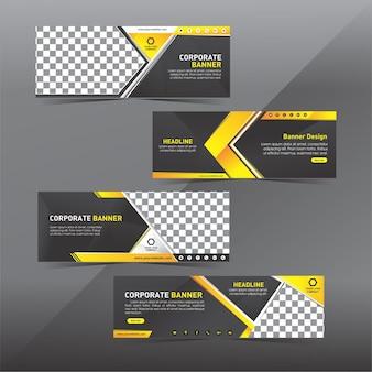 Conjunto de banner web moderno negro y amarillo