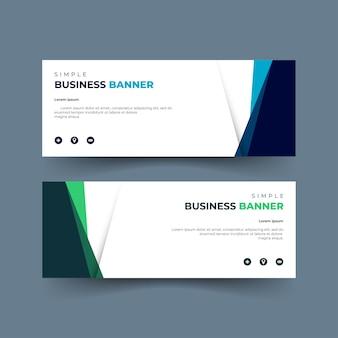 Conjunto de banners abstractos, color verde y azul, uso de redes sociales