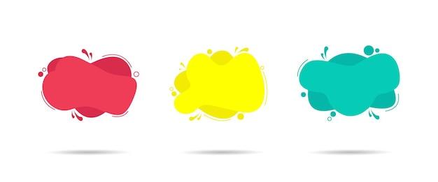 Conjunto de banners abstractos modernos. color líquido geométrico plano en el estilo de diseño de memphis. plantilla lista para usar en diseño web o de impresión aislado en la ilustración de fondo blanco