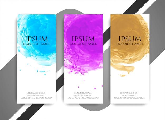 Conjunto de banners de acuarela colores modernos abstractos