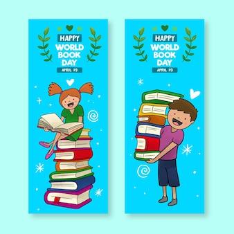 Conjunto de banners de acuarela del día mundial del libro