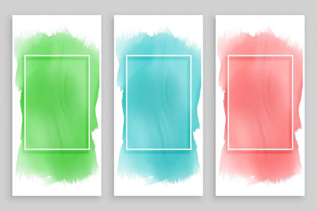 Conjunto de banners de acuarela marco abstracto
