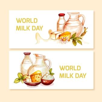 Conjunto de banners de acuarela pintada a mano del día mundial de la leche