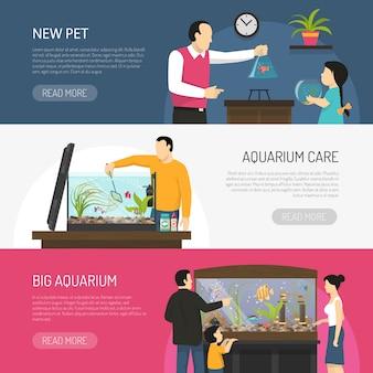 Conjunto de banners de acuario