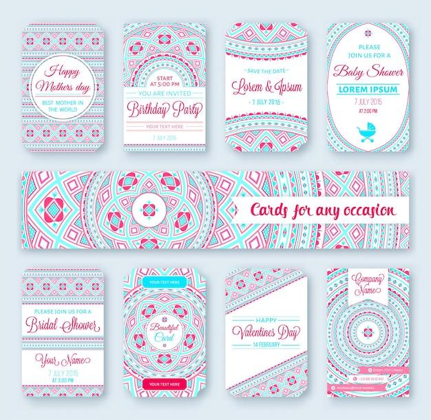 Conjunto de banners con adornos tribales para plantillas de boda