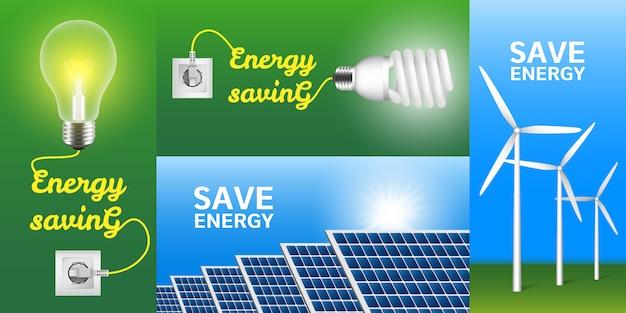 Conjunto de banners de ahorro de energía
