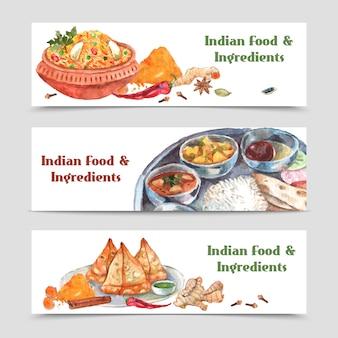 Conjunto de banners de alimentos indios