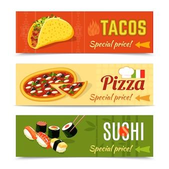 Conjunto de banners de alimentos