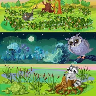 Conjunto de banners de animales de dibujos animados