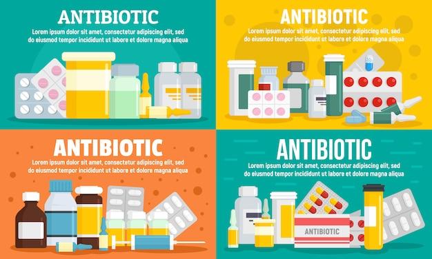 Conjunto de banners de antibióticos