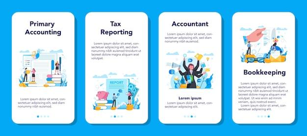 Conjunto de banners de aplicación móvil contable