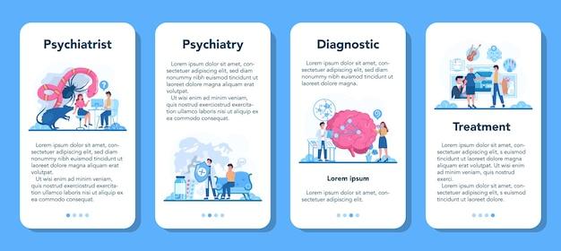 Conjunto de banners de aplicación móvil psiquiatra.