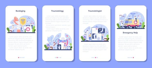 Conjunto de banners de aplicación móvil de traumatólogo.