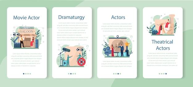 Conjunto de banners de aplicaciones móviles de actor y actriz. idea de creatividad