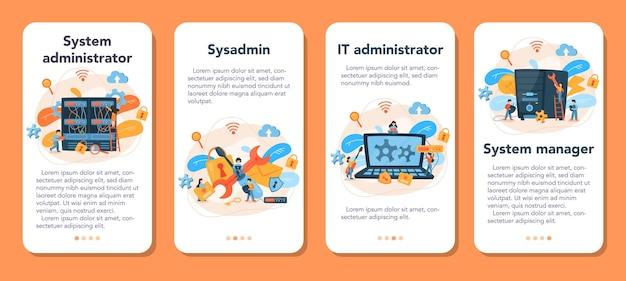 Conjunto de banners de aplicaciones móviles de administrador del sistema