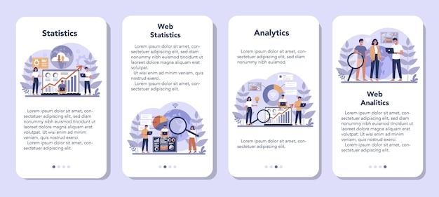 Conjunto de banners de aplicaciones móviles de análisis de sitios web