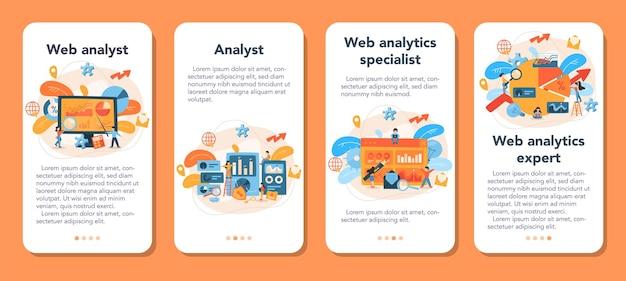 Conjunto de banners de aplicaciones móviles de analista de sitios web