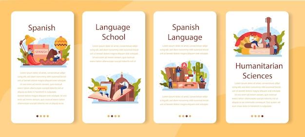 Conjunto de banners de aplicaciones móviles de aprendizaje de español. curso de español en la escuela de idiomas.