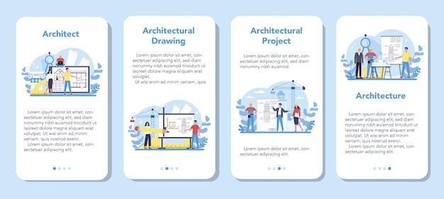 Conjunto de banners de aplicaciones móviles de arquitectura. idea de proyecto de construcción y obra de construcción. esquema de casa, industria de ingenieros. negocio de la empresa constructora.