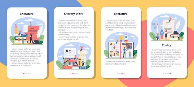 Conjunto de banners de aplicaciones móviles de asignaturas escolares de literatura.