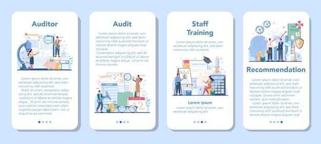 Conjunto de banners de aplicaciones móviles de auditoría.