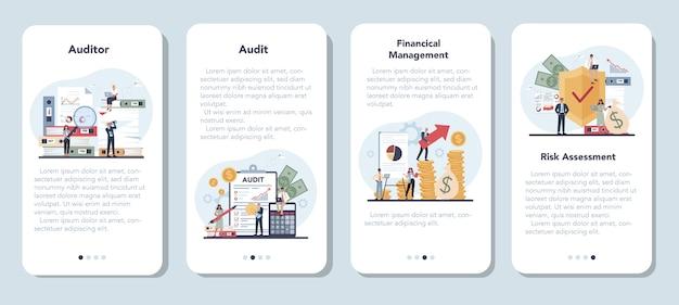 Conjunto de banners de aplicaciones móviles de auditoría