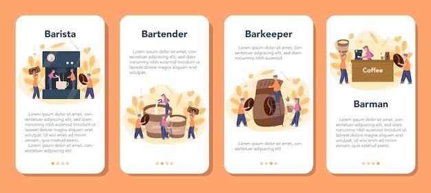 Conjunto de banners de aplicaciones móviles barista