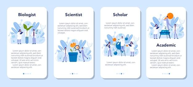 Conjunto de banners de aplicaciones móviles de ciencia biología
