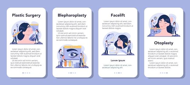 Conjunto de banners de aplicaciones móviles de cirujano plástico