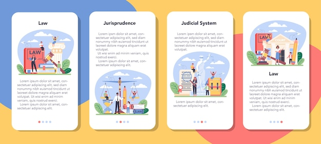 Conjunto de banners de aplicaciones móviles de clase de derecho