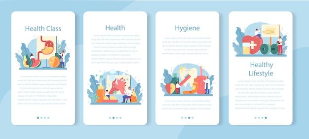 Conjunto de banners de aplicaciones móviles de clase de estilo de vida saludable