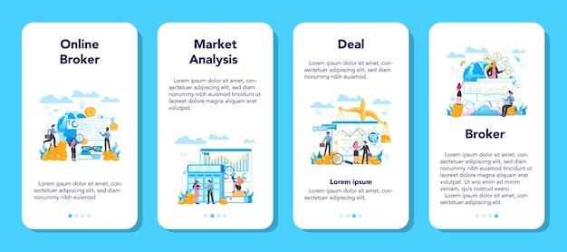 Conjunto de banners de aplicaciones móviles de corredor financiero. renta, inversión