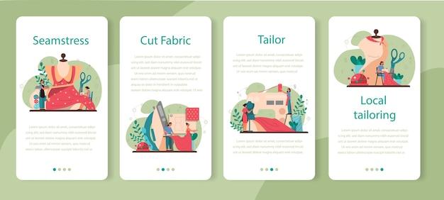 Conjunto de banners de aplicaciones móviles de costurera o sastre. maestro profesional de ropa de costura. profesión de taller creativo.