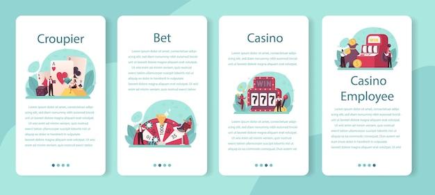 Conjunto de banners de aplicaciones móviles croupier. distribuidor en casino cerca de la mesa de ruleta. persona en uniforme detrás del mostrador de juegos de azar.