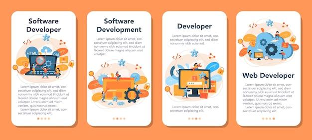 Conjunto de banners de aplicaciones móviles para desarrolladores de software. idea de programación y codificación, desarrollo de sistemas. tecnología digital. empresa de desarrollo de software escribiendo código.