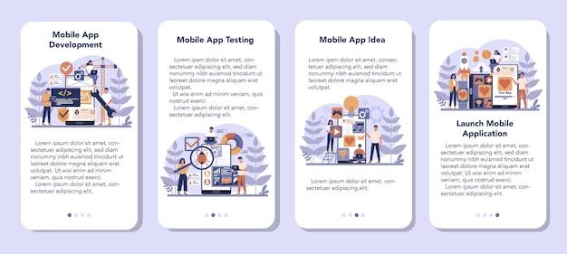 Conjunto de banners de aplicaciones móviles de desarrollo de aplicaciones móviles. tecnología moderna y diseño de interfaz de teléfono inteligente. creación y programación de aplicaciones. ilustración vectorial plana